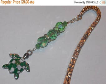 15%OFF Green Glass and Green Crystal encrusted Silverplated Beads Enameled Green Turtle Bookmark