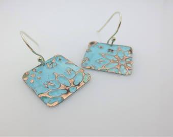 Snowflake Earrings - Zentangle Inspired Earrings - Embossed Earrings - Colorful Jewelry - Inexpensive Jewelry - Gift