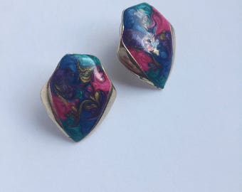 Vintage Colorful Pierced Earrings with gold Trim. Eighties Style.