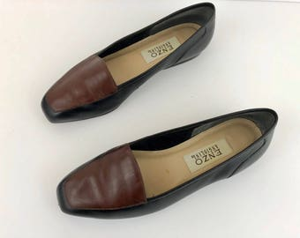 Vintage Enzo Angiolini Color Blocked Black and Brown Flats. Size 8 M.