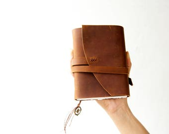 Small leather Pocket Journal, Rustic leather journal