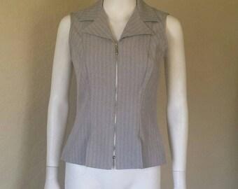 Grey pinstripe 90s zip vest top