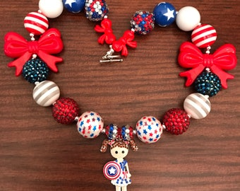 Little Girl Dressed as Captain America Bubble Gum Necklace in Browns/Golds/Turquoise Beads (Child/Toddler)