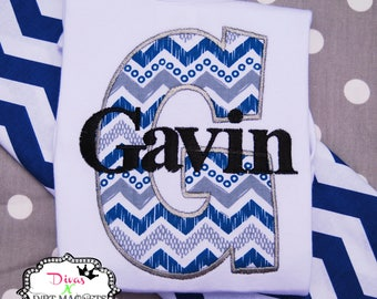 Boy Monogrammed Embroidered Shirt - Boy Going Home Outfit - Applique Monogrammed Name Shirt - Chevron - Monogrammed Shirt