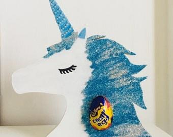 Easter egg holder, Unicorn Creme egg holder, Easter gift, Sparkly unicorn, Wooden unicorn head, Unicorn gift, Gift for her