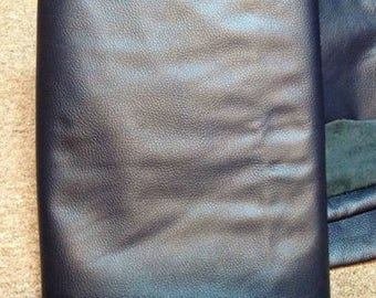 A76 Leather Cow Hide Cowhide Upholstery Craft Fabric Italian Dark Navy 45  sf