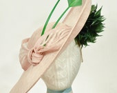 Blush/Baby Pink, & Green, Sinamay, Kentucky Derby Fascinator