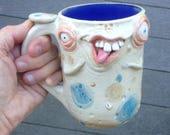 Big Arse 16 oz Face Mug with bum on backside. Stoneware. One of a kind. signed J Cotton