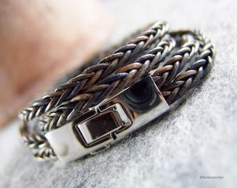 Lederarmband geflochten grau blau antik silber Edelstahl - Wickelarmband Leder - Männer Geschenk für sie ihn Ehemann bester Freund Freundin