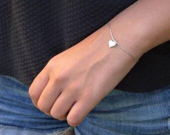 Heart Bracelet, Sterling Silver heart Bracelet, Delicate heart Bracelet, Small Heart Bracelet, Love Bracelet, Silver Bracelet