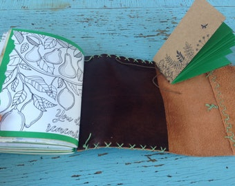 Handbound Leather Journal, junk journal, prayer journal, recycled upcycled paper, travel, nature, garden