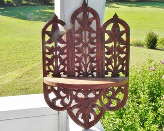 Carved Wood Folding Shelf Indian Rosewood