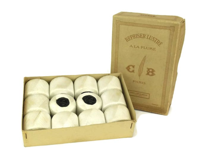 Antique French Sewing Thread. Box Set of 12 White Cotton Thiriez and Cartier Bresson Thread Spools.