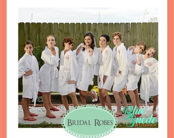Monogram Waffle Robes - set of 12 | Bridal Party Robes | Personalized Bridesmaid Robes | Waffle Weave Robe | Bridal Party Gift