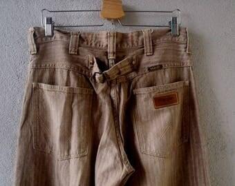 "Men's WRANGLER Pants Brown Stripe Buckle Back sz M 33x33"""