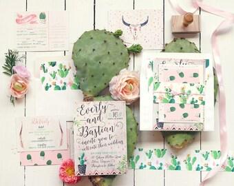 Desert Wedding Invitation, Cactus Wedding Invitations, Cacti Blooms Boho Invitation Suite, Printable or Printed