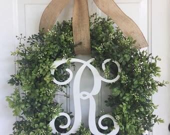 Boxwood wreath Everyday wreath monogram wreath