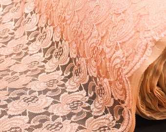 Peach Floral Embroidery Mesh Lace Fabric by the Yard- Style 2416