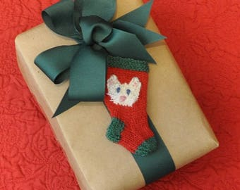 White Cat Christmas Stocking Ornament  Hand Knit Stocking Ornament