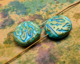 Blue Ledger Headpins -  (Set of 2)  5 inch Copper Wire and Polymer Clay Headpin