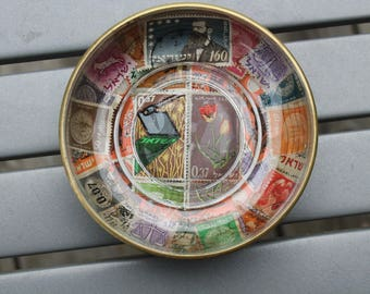 1960's Israel Postage Stamp Decoupage Brass and Glass Pin Dish Ashtray