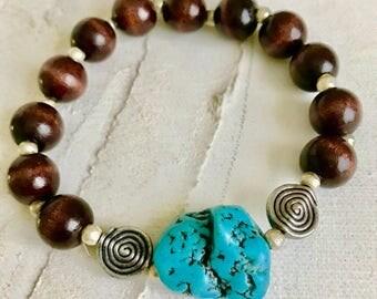 Wood and Turquoise Mala