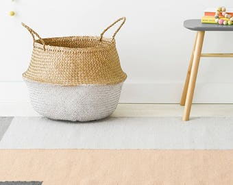 White Dipped Belly Basket - 35cm Dipped Dyed White Belly Basket Nursery Storage Planter Picnic Bag Toy storage Organiser