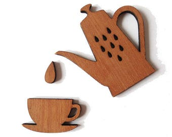 Teapot + Teacup + drop natural wood - 60x61mm - Non pierced