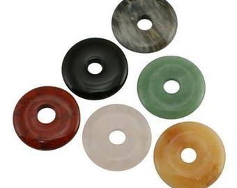 10 pendants - Donut assortment Fine stone 30mm x