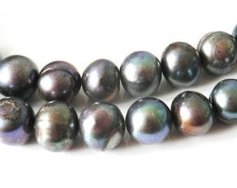 5 x 10-12 mm dark grey freshwater pearls