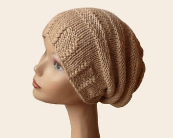 Slouch Beanie Hat / Knit Hat / Womens Hat / Slouch Beanie / Beehive Beanie / Hand Knit hat / Slouchy Knit Hat / Gift for her