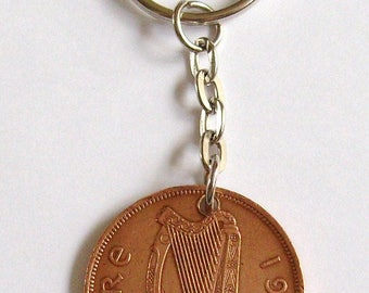 1965 1d Penny Pingin Irish Coin Keyring Key Chain Fob 52nd Birthday