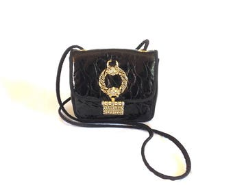 1990's Cache Patent Leather Cross-body Mini Purse Made in Italy