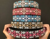 Scrolls woven jacquard embroidered ribbon trim 38mm 1.5 inches wide free domestic shipping