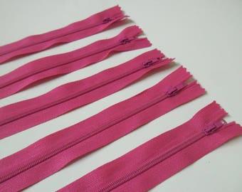 Set of 5 zippers pink 20cm