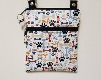 "Dog Crossbody Purse, Small Dog Purse, Dog Shoulder Purse, Dog Travel Purse, Purse with Paws, 68"" Adjustable Shoulder Strap, Nylon Lining."