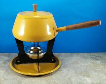 Vintage Mustard Yellow Fondue Pot - 1960's-1970's Fondue Party - Wood Handle, Metal Set