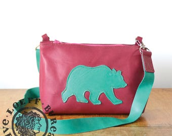 Bear Messenger Bag Small - Soft Cow Leather Messenger Bag with Illustration- red green leather