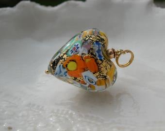 Millefiori Heart Necklace - Venetian Murano Glass