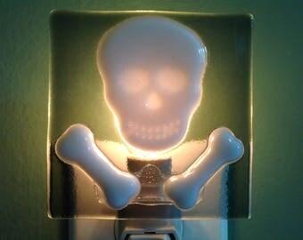 Skull and Bones, Skull, Halloween, Fused Glass, Night Light, Bones, Plug In