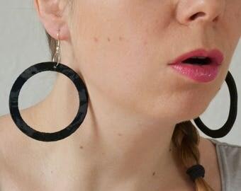 Black geometric earrings, leather jewelry, glam gift for her, Minimal geometric,Statement earrings, Modern earrings, Big hoop earrings, Xmas