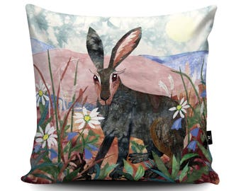 Hare Cushion, Hare Pillow, Rabbit Cushion, Rabbit Pillow, Animal Pillow, Noon, Sunrise, Home Decor, Vegan Suede Cushion by Kate Findlay