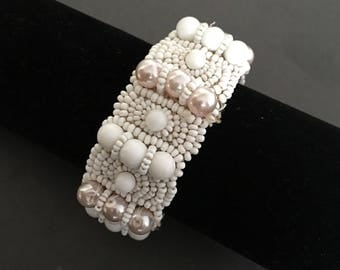 Vintage Cuff Bracelet White Beads and Blush Pink Faux Pearls Handmade 1940s
