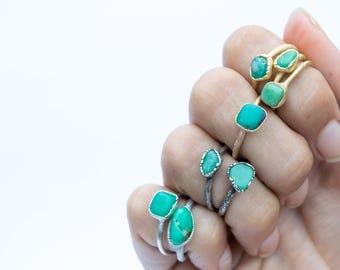 Tumbled chrysoprase ring   Chrysoprase crystal ring   Green chrysoprase ring   Raw crystal jewelry   Raw crystal statement ring