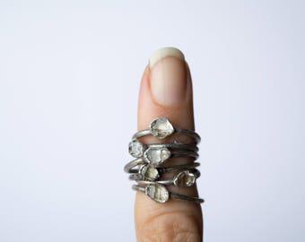 Raw crystal ring | Herkimer diamond ring | Electroformed crystal ring | Crystal quartz ring | Rock quartz crystal statement ring