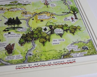 The Hundred Acre Wood, Winnie the Pooh Nursery Print, Map of 100 Acre Woods, Large Wall Print, Christopher Robin, Pooh and his friends
