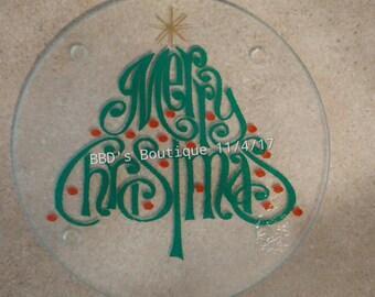 Glass Christmas Cutting Board