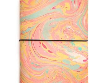 Unique Pink Pastel A5 Leather Refillable Sketchbook Notebook UK.