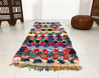 Authentic moroccan vintage runner 2.9 ft x 7.5 ft