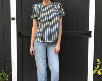 90's Striped Pleated Blouse